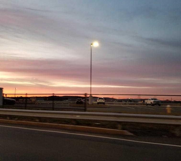 image of parking lot pink sunset